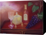 Grape Candle and Glass, Paintings, Fine Art,Impressionism,Realism, Still Life, Canvas,Oil, By Mike Chaple