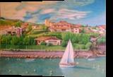 Coast of Italy, Graphic, Realism, Landscape, Mixed, By Oleg Kozelskiy