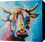 Colorful Cow, Paintings, Realism, Animals, Canvas,Oil, By Lyubov Kuptsova