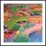 Colorful village, Decorative Arts, Primitive, Landscape, Acrylic, By Paula Valeria Fridman