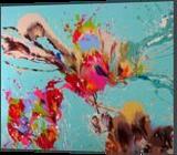 Colourful flowers, Paintings, Abstract,Fine Art, Botanical,Decorative,Fantasy,Floral,Nature, Acrylic,Canvas, By Irini Karpikioti