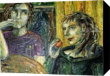 conversation, Paintings, Expressionism,Fine Art,Modernism,Symbolism, Cartoon,Daily Life,Figurative,Narrative,Religious, Oil,Pastel,Wood, By Kate Mikhatova