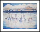Cool Morning Flamingos, Paintings, Fine Art,Impressionism, Environmental art,Landscape,Wildlife, Canvas,Oil,Painting, By Susan Kerr