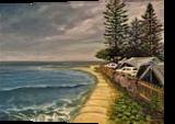 Cotton Three Beach, Australia, Paintings, Impressionism, Seascape, Canvas,Oil, By Larysa Anatolievna Denysova