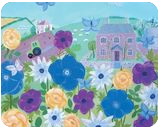 Country Cottage, Folk Art,Paintings, Fine Art,Impressionism, Floral,Landscape, Acrylic, By Mary Stubberfield