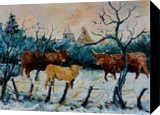 cows in winter, Paintings, Impressionism, Landscape, Canvas, By Pol Ledent