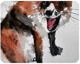 Crazy Fox, Paintings, Fine Art, Animals, Watercolor, By james Allen lagasse