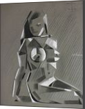 Cubistic Nude - 28-03-14, Drawings / Sketch, Abstract,Cubism,Fine Art, Anatomy,Composition,Erotic,Figurative,Inspirational,Nudes,People, Pastel, By Corne Akkers