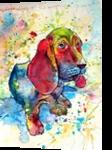 Cute basset hound, Paintings, Impressionism, Animals, Watercolor, By Kovacs Anna Brigitta
