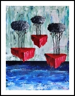 Desvanece en el mar la tierra viva, Paintings, Abstract,Surrealism, Fantasy,Seascape, Acrylic,Canvas,Ink, By Lorenzo Muriedas