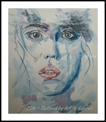 Detached, Paintings, Expressionism, Portrait, Watercolor, By Defined by Art With Lauren