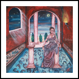 DI NOTTE ALLE TERME, Paintings, Fine Art, Figurative, Acrylic,Canvas, By Corinne Marie Claude Tomas