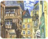 Dinan 2 Brittany Watercolour, Paintings, Realism, Cityscape, Watercolor, By Michelle Katrina Archer