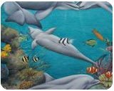Dolphins Playground, Paintings, Fine Art,Impressionism,Realism, Animals,Environmental art,Seascape, Canvas,Oil,Painting, By Jane Moore