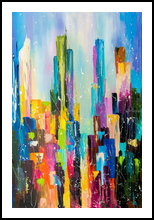 Downtown, Paintings, Abstract, Architecture,Cityscape, Canvas,Oil, By Lyubov Kuptsova