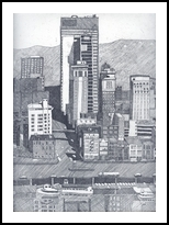 Downtown Pittsburgh, Printmaking, Expressionism, Cityscape, Ink, By Thomas J Norulak