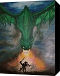 Dragon Battle, Paintings, Fine Art,Street Art, Fantasy,Mythical, Canvas,Oil,Painting, By Robert Douglas Given