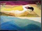 dream at seaside, Paintings, Existentialism,Fine Art,Hallucinogens,Orphism,Primitive,Romanticism,Surrealism,Symbolism, Anatomy,Erotic,Mythical,Nature,Nudes,People,Seascape,Spiritual,The Unconscious,Wildlife, Canvas,Oil, By Gabriele Gerini