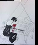 Elfriede Jelinek*Die Klavierspielerin*, Illustration, Fine Art, Decorative, Pencil, By Victoria Trok