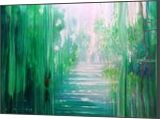 Emerald Hart - a green forest, river and red stag, Paintings, Abstract,Expressionism,Fine Art, Landscape, Oil, By Gill Bustamante