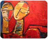 Eternal Companion Series, Paintings, Abstract, People, Canvas,Oil, By Gnana Ponnusamy