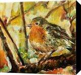 European Robin, Paintings, Fine Art, Animals,Landscape,Nature, Acrylic,Canvas, By Marta Kuźniar