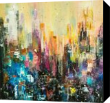 Evening city, Paintings, Abstract, Architecture,Cityscape,Decorative,Fantasy,Furniture, Canvas,Oil, By Lyubov Kuptsova