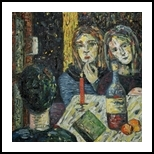 Evening in Berlin, Paintings, Expressionism,Fine Art,Impressionism,Symbolism, Composition,Daily Life,Figurative,Mirrors, Canvas,Oil,Painting, By Kate Mikhatova