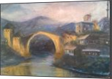 Evening in Mostar, Paintings, Fine Art,Impressionism, Cityscape,Landscape,Nature,Window on the World, Oil,Wood, By Angela Suto