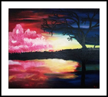 Evening Reflections, Paintings, Fine Art,Modernism,Surrealism, Environmental art,Inspirational,Land Art,Landscape,Still Life, Canvas,Oil,Painting, By Robert Douglas Given