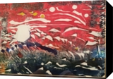 Expressionism Sky Fall in Reds painting 1 of 2 sequential monoprints, Paintings,Paper Art, Abstract,Expressionism, Avant-Garde, Ink, By Joseph Culotta