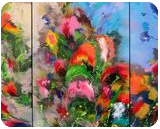"""EXTRA LARGE Triptych """"Spring melody"""", Paintings, Abstract, Botanical,Fantasy,Floral,Landscape,Nature, Acrylic,Canvas, By Irini Karpikioti"""