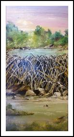 Fatbottom Pond, Paintings, Fine Art,Impressionism, Landscape, Acrylic, By Eva Marie Hunter