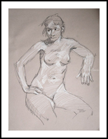 Female Nude, Drawings / Sketch, Fine Art, Nudes, Charcoal,Pastel, By Marc Clamage