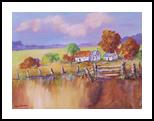 Fence Cottages, Paintings, Impressionism, Landscape, Canvas, By Louis Pretorius