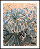 FIND YOUR BALANCE - BLUE CHRYSANTHEMUM, Paintings, Abstract,Expressionism,Fine Art,Modernism, Botanical,Floral,Nature,Still Life, Acrylic,Canvas, By HSIN LIN