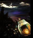 Firefly Sky, Paintings, Fine Art, Wildlife, Acrylic, By adam santana