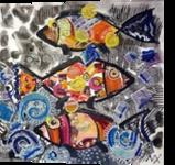 FISH2, Collage, Abstract, Decorative, Acrylic,Canvas, By Maria Hristova Koleva