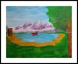 Fishin Farmer, Land Art, Expressionism, Landscape, Acrylic,Canvas, By Loretta Hon