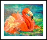 Flamingo, Paintings, Impressionism, Animals, Canvas,Oil,Painting, By Olha   Vyacheslavovna Darchuk