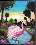 Flamingos Paradise, Paintings, Fine Art, Animals, Acrylic, By adam santana