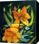 Flowers on Black Canvas, Paintings, Impressionism, Botanical, Oil, By CHARLES PINKARD SR