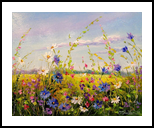 Flowers on the meadow, Paintings, Impressionism, Botanical,Floral,Landscape,Nature, Canvas,Oil,Painting, By Olha   Vyacheslavovna Darchuk