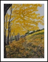 Forest in autumn, Paintings, Fine Art, Landscape, Oil,Painting, By Claudia Luethi alias Abdelghafar