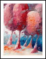Foret enchantee, Paintings, Abstract,Fauvism, Landscape, Canvas,Oil, By Beatrice BEDEUR