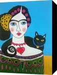 Frida and Her Cat, Folk Art,Paintings, Existentialism,Expressionism, Animals,Fantasy,Mythical,People, Acrylic, By James Allan Kennedy