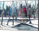 Frozen Pond, Paintings, Fine Art, Landscape, Watercolor, By james Allen lagasse