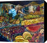 Fruit Market, Paintings, Realism, Figurative, Acrylic,Canvas,Painting, By Matthew David Evans