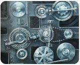 Gears, Paintings, Kineticism,Symbolism, Analytical art,Conceptual,Inspirational,Machnine Forms,Mathematics, Canvas,Oil, By Oleg Bazylewicz