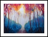 Gems of the Spring Forest - a colorful birds and trees landscape, Paintings, Fine Art, Landscape, Oil, By Gill Bustamante